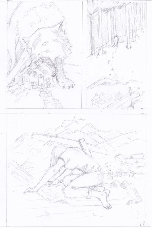 Pencils for page 5 of 'The Wolf'
